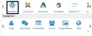 Search wordpress and click on it to install wordpress software